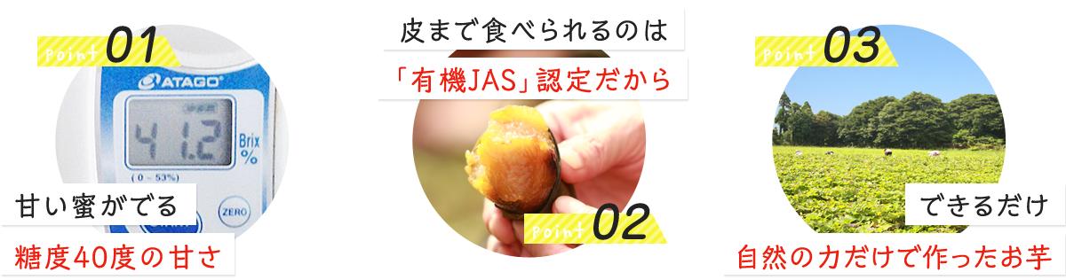 1 甘い蜜がでる糖度40度の甘さ 2 皮まで食べられるのは「有機JAS」認定だから 3 できるだけ自然の力だけで作ったお芋